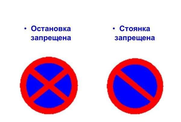 Знаки остановка и стоянка запрещена