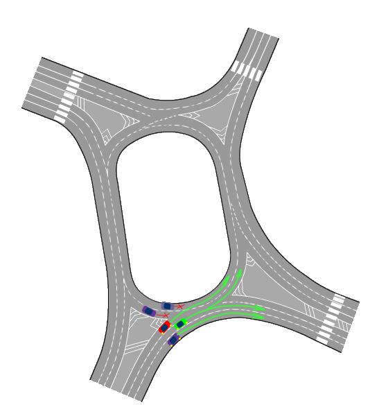 Так как знаков нет, то автомобили на кольце должны пропустить тех которые въезжают на кольцо.  Пропускают потому,  что у них помеха справа