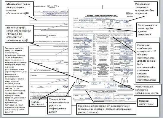 Полный образец заполнения европротокола
