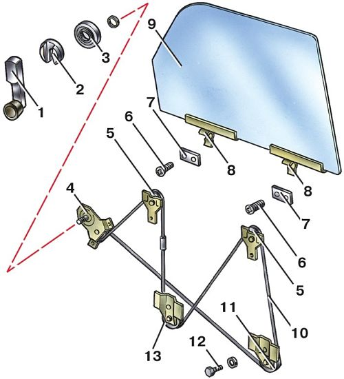 устройство стеклоподъемника боковых стекол
