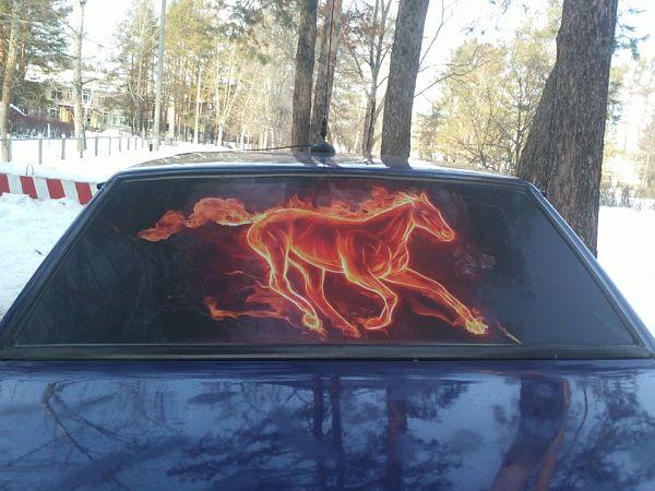 шелкография на заднем стекле авто