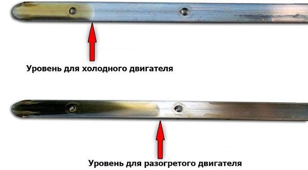 разница в уровне разогретого и холодного двигателя