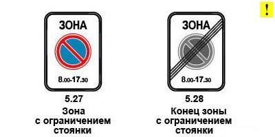 Знак зона с ограничением стоянки