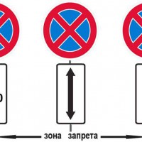 Знаки остановка и стоянка запрещена с дополнительными табличками