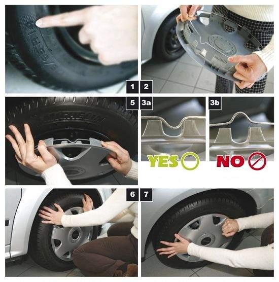 автомобилист устанавливает колпаки на колеса