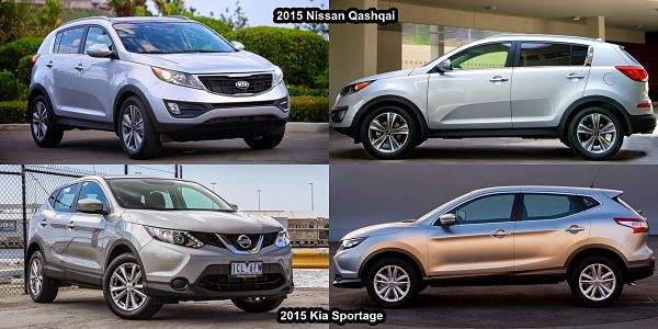Nissan Qashqai и  KIA Sportage экстерьер