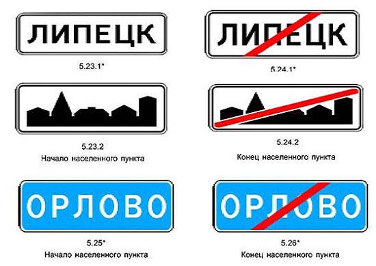 знаки начало-конец населенного пункта
