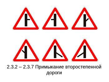 знаки примыкания второстепенной дороги