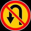 Знак Разворот запрещен временный