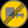 Знак Конец зоны запрещения обгона грузовым автомобилям временный
